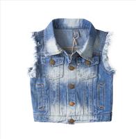 New 2014 girls demin coat autumn children's clothing kids jackets fashion child outerwear flower girl's garment