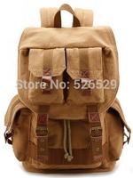 Free Shipping men women camera bag casual vintage buckle design canvas backpack travel sport bag horsehide leather shoulder bags