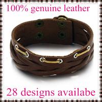 2014 fashion leather bracelets bangles for men top genuine cow leather 28 designs vintage punk wholesale & retail