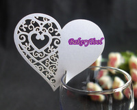 most popular heart in heart paper cards Wine Cup Cards Place Cards Escort Cards 50pcs/lot free shipping