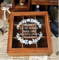 fashion beautiful glass print storage box finishing ridel retro solid wood jewelry box christmas decoration