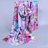 165*50cm New Fashion Spring Autumn Women Print scarves Female Flower Animal Patterns long Scarf Shawl Bohemia Silk Scarf wraps