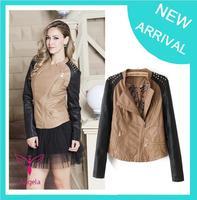 2014 Fall Winter jaqueta de couro feminina Fashin RivetsPu Motercycle leather jacket Female Slim Short coats for woman XY-018