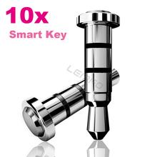 10pcs/lot 360 Klick Smart Key Anti-dust Plug Intelligent Shortcut 3.5mm Audio Jack Button For Android Smartphone Samsung HTC LG