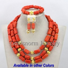 2014 Latest Nigerian Wedding Coral Beads Jewelry Set African Bridal Jewelry Set Gold Plated Free Shipping