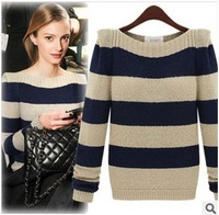 New 2014 Autumn Winter Striped Sweater Women Fashion Shrugged Knitted Sweater Slash Neck Pullovers Sweaters For Women Ladies