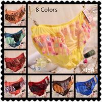 F007 Flower Leopard Plus Size Fitness Briefs 6 PCS/lot Sexy Women's Lace Panties Mesh  Girl's Victoria Bow String Underwear