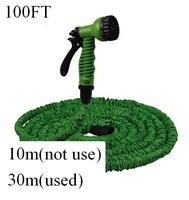 2014 HOT 100FT Flexible Garden pipe and Car Water hose  valve with spray Gun  EU/US connector &Blue,Green