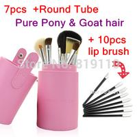 Brand Professional 7 pcs Pony & Goat hair wood handle Pink make up brush set kit with Makeup brush collection Tube Basic tools