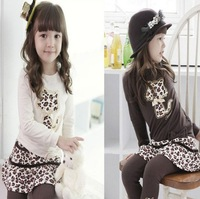 hot! 2014 free shipping baby girls Sets autumn-spring outerwear leopard cat girl's suit long sleeves t shirt+skirt leggings