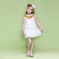 2014 summer new big trade lotus leaf collar chiffon sleeveless dress for girls children's clothing wholesale trade