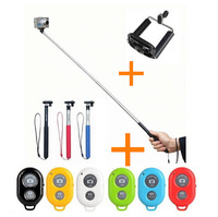 3 in 1 Self-timer Bluetooth Camera Shutter remote controle +Extendable Handheld monopod selfie+clip holder for Android IOS phone