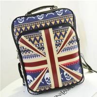 Free Shipping Korean fashion m word flag College Wind shoulder bag pu bag backpack schoolbag bag tide