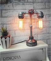 Luxury Vintage Desk Tble Lamp Light Manual Iron DIY Handmade Loft industrial Cafe Bar Study E27 Robot Electroplate 2 Bulbs white