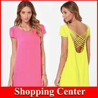 2014 New Fashion hot Girls Dresses Solid Color Cute Chiffon Dress Open Back Hollow Cross Short-Sleeve girl Summer Dress