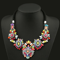 European&American big colorful flower bohemian choker necklace,new fashione shamballa exaggerated vintage statement jewelry