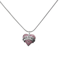 hot sell Stylish cheermom heart pendants crystal necklaces