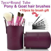 7pcs Brand Animal pony hair Portable Travel Makeup brushes sets Powder Fundation Blush Lip Brow make up brushes + brush holder