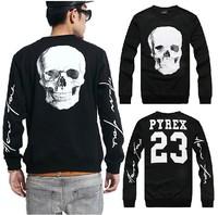 2014 New Harajuku Versa Fashion men/women white skull pyrex 23 3d print pullover hip hop Brand Galaxy Sweatshirts Hoodies Tops