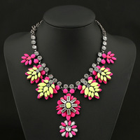 European&American big multi color flower bohemian choker necklace,new fashione shamballa exaggerated vintage bohemian jewelry