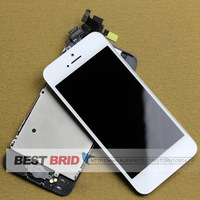 For Iphone 5 Lcd Complete  Display and Touch Screen Digitizer Assembly+Home Button+Front Camera  black/white,Free Shipping