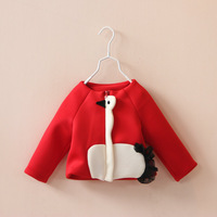 New 2014 autumn fashion children's clothing girls child for little swan long-sleeve outerwear kids baby short design o-neck coat