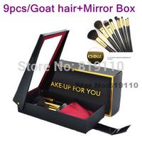 Animal Goat  Hair Brand Makeup Brush Sets & kits  9pcs make up  Brushes set cosmetic  Tool make-up  brushes kit  with Mirror box