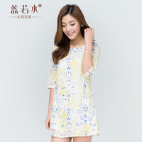 Plus size clothing 2014 summer sweet lace print fifth sleeve one-piece dress