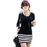 free shipping Female long-sleeve dress 100% cotton black and white stripe slim women's short Dresses