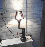 Luxury Vintage Desk Tble Lamp Light Manual Iron DIY Handmade Loft industrial Cafe Bar Study Fabric Shade Brass Color
