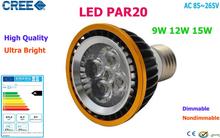 Factory Sale 10pcs LED PAR20 Bulbs E27 GU10 15W 5*3W Warm White Cold White 110V 220V Dimmable LED PAR 20 Spotlights Lamps Bulbs(China (Mainland))