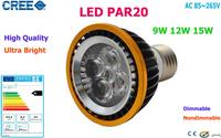 Factory Sale 10pcs LED PAR20 Bulbs E27 GU10 15W 5*3W Warm White Cold White 110V 220V Dimmable LED PAR 20 Spotlights Lamps Bulbs