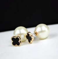 high quality brincos double face four leaf clover stud earrings for women big pearl earring wholesale gifts