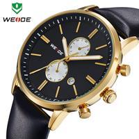Analog 3ATM wristwatch Casual Brand watch Genuine Leather Watch Men Military Wristwatch Original Japan Miyota 2115 Quartz WEIDE
