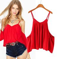 Free Shipping 2014 summer women blouse new sexy strapless backless halter top blusas femininas loose sleeveless chiffon tank top