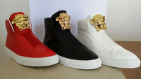 2014 New Brand High Top Men's Fashion Sneakers White Black Red leather Men Sport Shoes Casual Sneakers