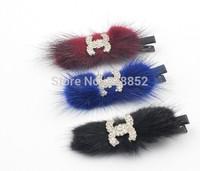 High Quality cute rhinestone letter design hairpins hair clip for kids fur alligator clip barrettes Free shipping 12pcs/lot