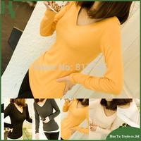 P102 Free Shipping Fashion 2014 European Style Women V Neck Long Sleeve Cotton Base T Shirt