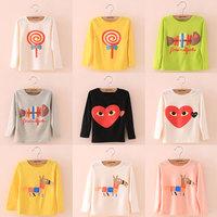 2014 autumn multi-color boys clothing girls clothing child long-sleeve T-shirt tx-3050 basic shirt