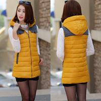 Autumn and winter slim medium-long cotton down vest Women plus size vest thickening cotton waistcoat Women's Clothing