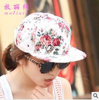 Korean fashion printing hip-hop Jie hip-hop cap for male and female flowers flowers adjustable baseball cap