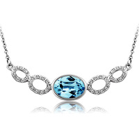 Austrian Blue/Purple Crystal Pendant Necklace 18K White Gold Plated Women's Charm Jewelry Free Shipping (CN071)
