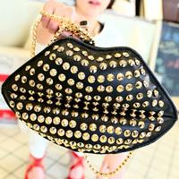 The new tide female bag European and American wind rivet kiss lips bag chain single shoulder bag. Free shipping
