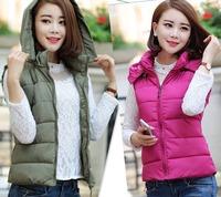Plus size with a hood down vest cotton autumn vest female outerwear winter vests women 2014 spring slim jacket