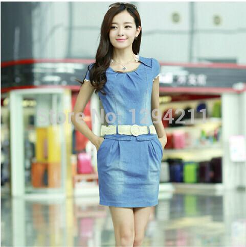 neuen 2014 herbst spitze denim dress hochwertige frauen sommermode schlanke jean kleid mit gürtel elastikbund frauen kleidung