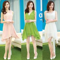 free shipping  2014 summer new  fashion Women's loose irregular sleeveless  v-neck vest  chiffon dress  for women