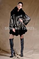 Fur Coats Promotion Women Real Full Pleated 2014 Autumn And Women's Long Imitation Mink Overcoat Luxury Elegant Plus Size Coat