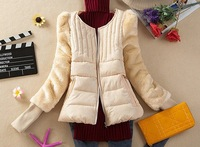 2014 new winter coat female short paragraph Slim Down padded cotton jacket fashion coat fur sleeves