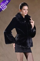 Fur Coats Limited Covered Button Solid Full 2014 New Winter Fashion Women Flare Sleeve Imitation Mink Rex Rabbit Coat Overcoat