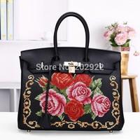 New Vintage Cross Stitch Designer Brand Floral Real Genuine Leather Embroidery Handbags Handmade Flower Women Tote Shoulder bags